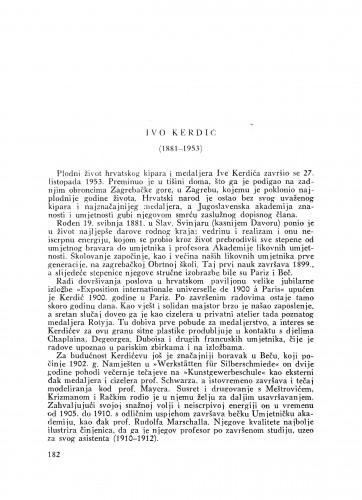 Ivo Kerdić (1881-1953) : [nekrolog] / V. Zlamalik