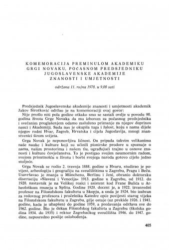 Komemoracija preminulom akademiku Grgi Novaku, počasnom predsjedniku Jugoslavenske akademije znanosti i umjetnosti održana 11. rujna 1978. u 9,00 sati