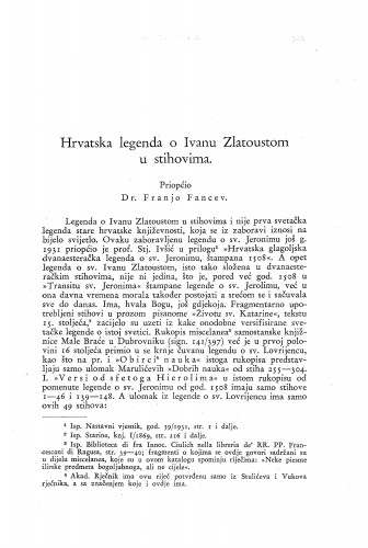 Hrvatska legenda o Ivanu Zlatoustom u stihovima / Franjo Fancev