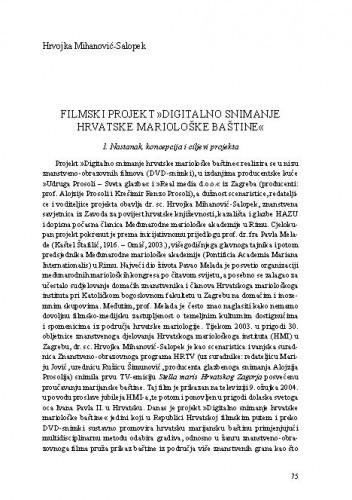 Filmski projekt »Digitalno snimanje hrvatske mariološke baštine« / Hrvojka Mihanović-Salopek