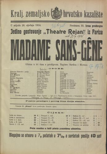 Madame Sans-Gêne : gluma u tri čina s predigrom