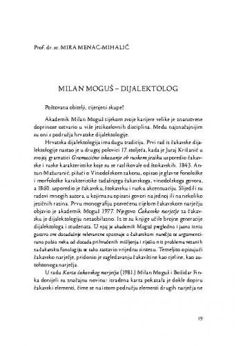 Milan Moguš - dijalektolog / Mira Menac-Mihalić