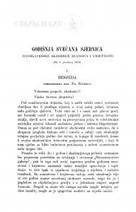 Godišnja svečana sjednica Jugoslavenske akademije znanosti i umjetnosti dne 6. prosinca 1884. : [1. Besjeda predsjednika. - 2. Izvještaj tajnika]