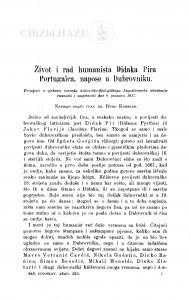 Život i rad humanista Didaka Pira Portugalca, napose u Dubrovniku / Đ. Körbler