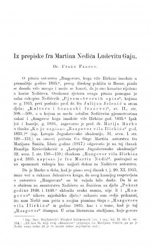 Iz prepiske fra Martina Nedića Ludevitu Gaju / F. Fancev