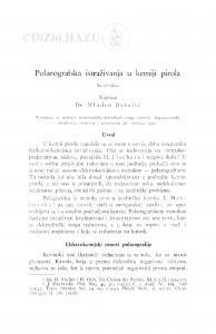 Polarografska istraživanja u kemiji pirola / Mladen Deželić