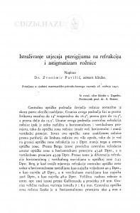 Istraživanje utjecaja pterigijuma na refrakciju i astigmatizam rožnice / Zvonimir Pavišić