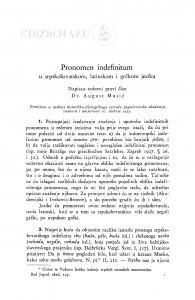 Pronomen indefinitum u srpskohrvatskom, latinskom i grčkom jeziku / A. Musić
