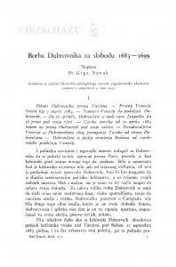 Borba Dubrovnika za slobodu 1683-1699. / G. Novak