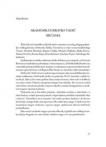 Akademik Dubravko Tadić : sjećanja / Mitja Rosina