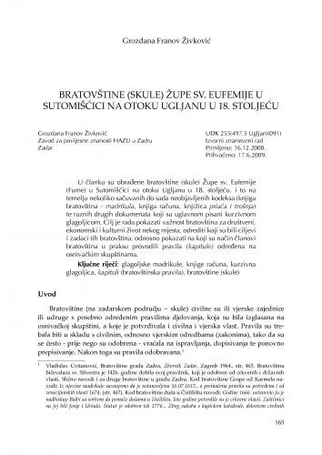 Bratovštine (skule) Župe sv. Eufemije u Sutomišćici na otoku Ugljanu u 18. stoljeću / Grozdana Franov Živković