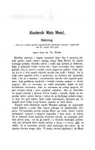 Akademik Mato Mesić : nekrolog / F. Rački