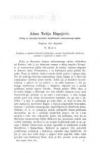 Adam Tadija Blagojević. Prilog za historiju hrvatske književnosti osamnaestoga vijeka / T. Matić