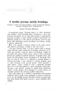 O rječniku pravnoga nazivlja hrvatskoga / V. Mažuranić