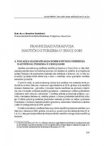 Pravni izazovi razvoja nautičkog turizma u Crnoj Gori / Branislav Radulović