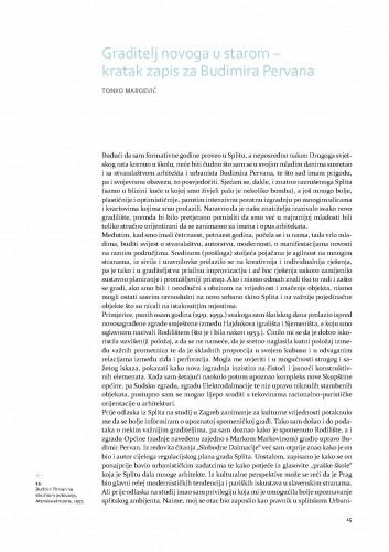 Graditelj novoga u starom - kratak zapis za Budimira Pervana / Tonko Maroević