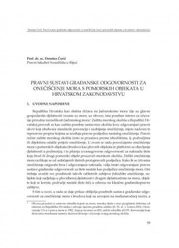 Pravni sustavi građanske odgovornosti za onečišćenje mora s pomorskih objekata u hrvatskom zakonodavstvu : [uvodno izlaganje] / Dorotea Ćorić