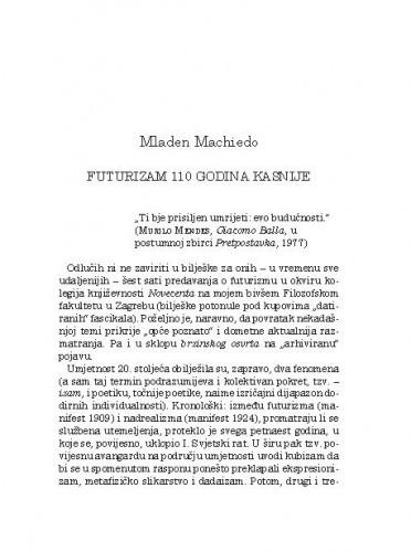 Futurizam 110 godina kasnije / Mladen Machiedo