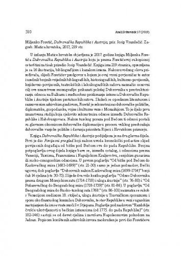 Miljenko Foretić, Dubrovačka Republika i Austrija, prir. Josip Vrandečić. Zagreb: Matica hrvatska, 2017. : [prikaz]Jasenka Maslek