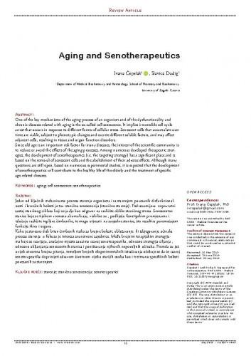 Aging and senotherapeutics / Ivana Čepelak, Slavica Dodig