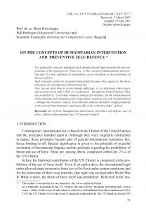 On the concepts of humanitarian intervention and preventive self-defence / Boris Krivokapić