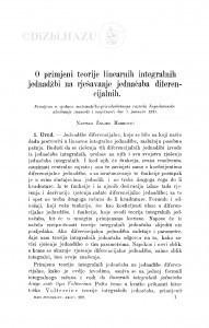 O primjeni teorije linearnih integralnih jednadžbi na rješavanje jednačaba diferencijalnih / Ž. Marković