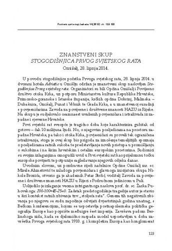 Znanstveni skup Stogodišnjica Prvog svjetskog rata, Omišalj, 28. lipnja 2014. : [prikaz] / Maja Polić