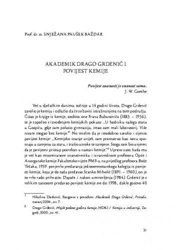 Akademik Drago Grdenić i povijest kemije / Snježana Paušek Baždar