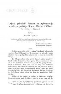 Utjecaj prirodnih faktora na aglomeraciju naselja u poriječju Bosne, Ukrine i Vrbasa / O. Oppitz