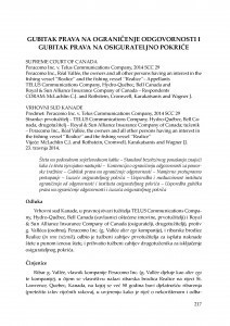 Gubitak prava na ograničenje odgovornosti i gubitak prava na osigurateljno pokriće (Vrhovni sud Kanade, predmet: Peracomo Inc. v. Telus Communications Company, 2014 SCC 29, 23.4.2014.) : [prikaz] / Mišo Mudrić