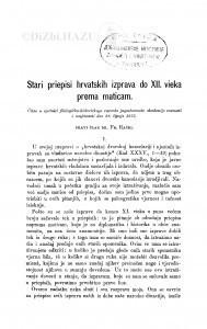 Stari priepisi hrvatskih izprava do XII. vieka prema maticam / F. Rački