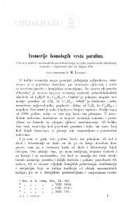 Izomerije homologih vrsta parafina / S. Lozanić