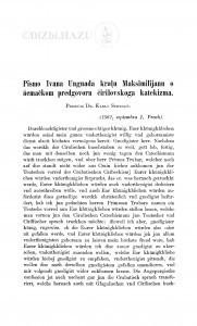 Pismo Ivana Ungnada kralu Maksimilijanu o ńemačkom predgovoru ćirilskoga katekizma / Karlo Schrauf