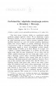 Geobotanička i algološka istraživanja cretova u Hrvatskoj i Sloveniji / I. Pevalek