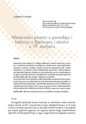 Maternalni pomor u porođaju i babinju u Bjelovaru i okolici u 19. stoljeću / Dubravko Habek