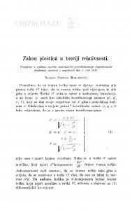 Zakon ploštinâ u teoriji relativnosti / S. Mohorovičić