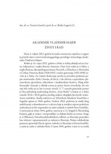 Akademik Vladimir Majer : život i rad / Vesnica Garašić, Boško Lugović