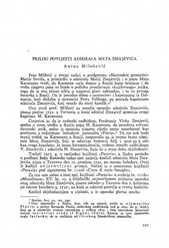 Prilog povijesti admirala Mata Zmajevića / Antun Milošević