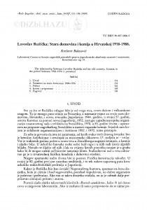 Lavoslav Ružička : stara domovina i kemija u Hrvatskoj 1919.-1988 / K. Balenović