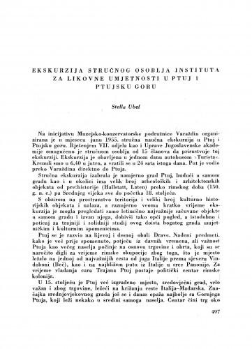Ekskurzija stručnog osoblja Instituta za likovne umjetnosti u Ptuj i Ptujsku goru / S. Ubel