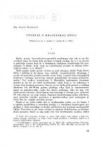 Studije o krajinskoj epici / A. Schmaus