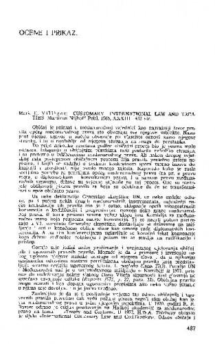 Customary international law and treaties (autor: M.E. Villiger) (M.Nijhoff, 1985) : [prikaz knjige] / Vladimir-Đuro Degan