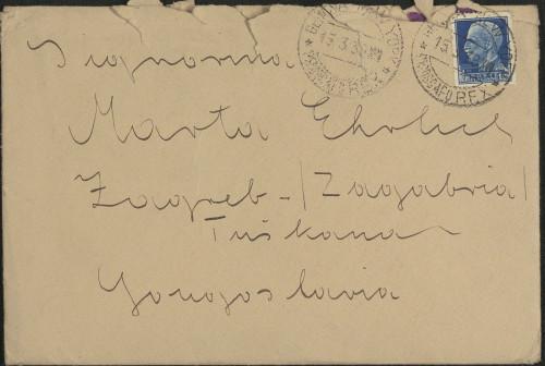 Pismo Kamila Tompe Marti Ehrlich, Gibraltar, 17.3.1939.