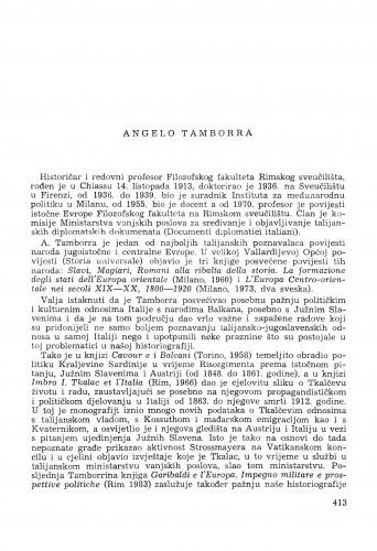 Angelo Tamborra : [biografije novih članova Akademije]