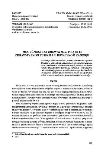 Mogućnosti za Brownfield projekte zdravstvenog turizma u Hrvatskom zagorju / Vedran Kruljac
