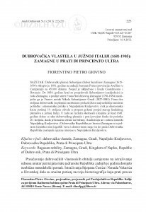 Dubrovačka vlastela u južnoj Italiji (1681-1905): Zamagne u Prati di Principato Ultra / Fiorentino Petro Giovino