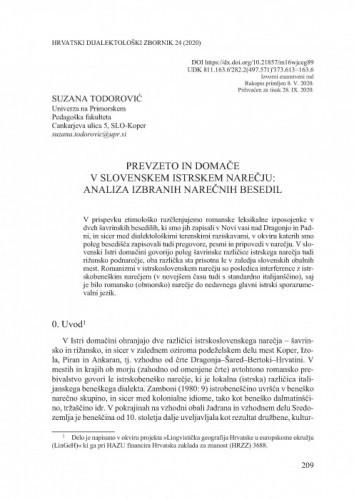 Prevzeto in domače v slovenskem istrskem narečju: analiza izabranih narečnih besedil / Suzana Todorović