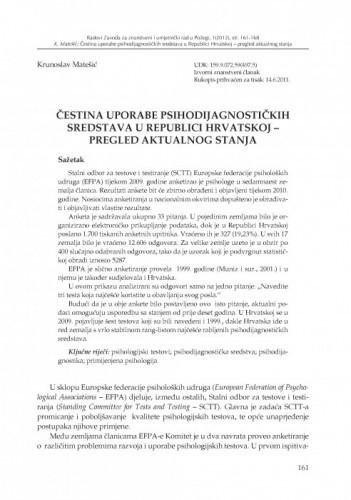 Čestina uporabe psihodijagnostičkih sredstava u Republici Hrvatskoj - pregled aktualnog stanja / Krunoslav Matešić