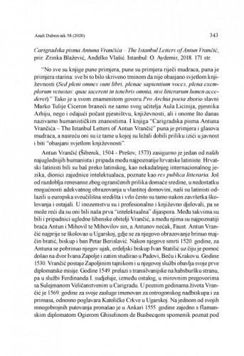 Carigradska pisma Antuna Vrančića – The Istanbul Letters of Antun Vrančić, prir. Zrinka Blažević, Anđelko Vlašić. Istanbul: O. Aydemir, 2018. : [prikaz] / Tamara Tvrtković