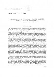 Ispitivanje alergena peludi raznim imunološkim metodama / N. Köhler-Kubelka